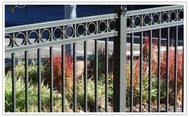 Commercial ornamental fence in Aurora